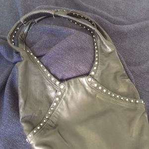 Donna Karan Black leather and Silver accent Purse